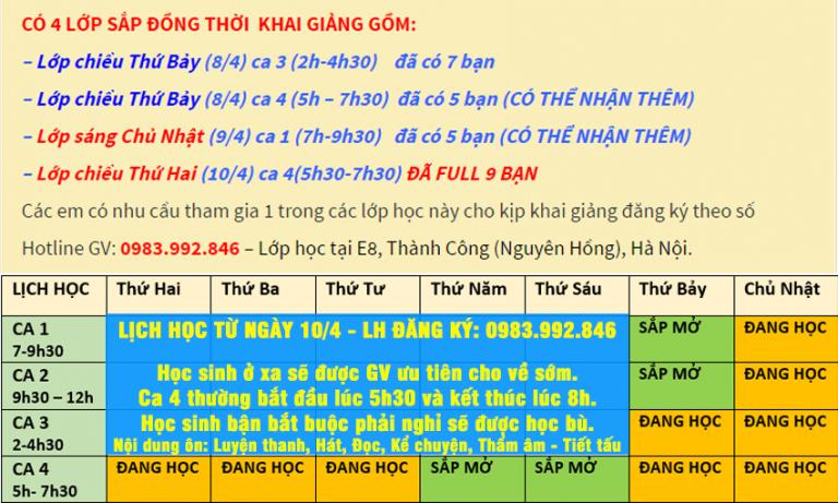 Lịch học, khai giảng lớp Ôn Năng Khiếu khối M Tháng 4 tại Hà Nội – Thời điểm vàng ôn thi.